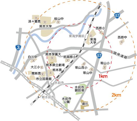 保田窪1丁目交差点を中心とした周辺地図